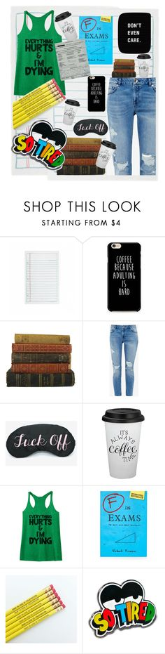 """""""exams season :("""" by homopomogay ❤ liked on Polyvore featuring Rifle Paper Co, Ted Baker, Topshop, Lazy Oaf, denim, tired, rippedjeans and exams"""