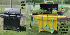 Repurpose An Old Grill Into A Garden Storage Cart – A Spotted Pony Garden Tool Storage, Garden Tools, Farm Tools, Outdoor Projects, Outdoor Decor, Outdoor Crafts, Plants For Raised Beds, Outdoor Sinks, Garden Labels