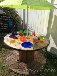 Giant Spool Upcycled Mud Kitchen #mudkitchen #mudpie #playkitchen #spool #kidsactivities