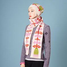 Perfect for chilly spring days. Flower Bobble Hat - Beige/Green - Donna Wilson.