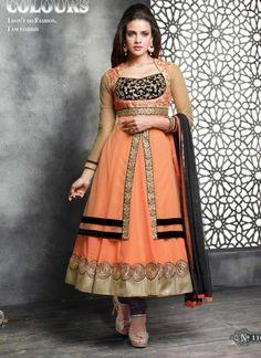 Adorable Orange Fancy Georgette With Net Embroidery Work AnarkalI Suit http://www.angelnx.com/