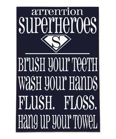 Navy & White 'Superheroes' Bathroom Wall Art