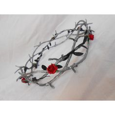 Barbed Wire Crown of Thorns Silver Black Leaves Red Rose Goth... ($48) ❤ liked on Polyvore featuring accessories, hair accessories, hair, crowns, jewelry, tiaras, bridal headbands, bridal tiaras, rose flower crown and flower headbands