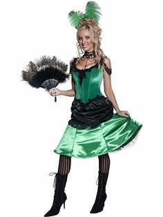 Saloon Girl Costume  This authentic western Saloon Girl starts a brawl whenever she enters the saloon. Everyone will be lining up for a drink from you when they see you wearing this Saloon Girl Costume.
