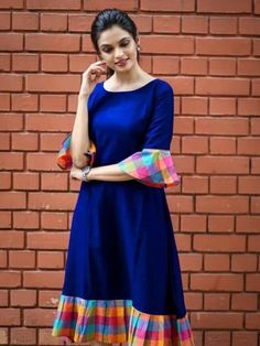 Fabric: Khadi Cotton Sleeves: Sleeves Are Included Size: (Bust) Up To 42 in (Free Size) Length: Up To 46 in Type: Semi-Stitched Fabric: Khadi Cotton Salwar Designs, Kurti Neck Designs, Dress Neck Designs, Kurta Designs Women, Kurti Designs Party Wear, Designs For Dresses, Blouse Designs, Simple Kurti Designs, Frock Design