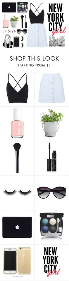 """""""New York City Girl"""" by emilyh0905 ❤ liked on Polyvore featuring Topshop, Essie, Potting Shed Creations, NARS Cosmetics, Vince Camuto and Chanel"""