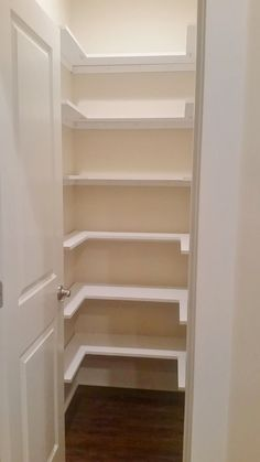 pantry makeover with wrap around wood shelves