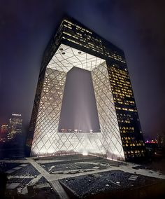CCTV first lighting test OMA Rem Koolhaas. Shot by Architectural Photographer Nathaniel McMahon, Beijing - 2011