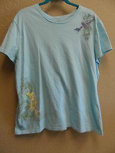 Vintage Disney Store Size XXL Aqua Tinkerbell Short Sleeve T-Shirt
