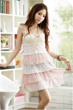 Corean Lovely and Gentle Style Chiffon Braces Skirt For Female (PINK,ONE SIZE) China Wholesale - Sammydress.com