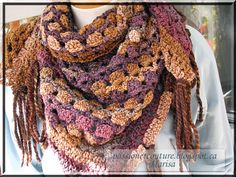 Passion et Couture: Let's crochet a Triangular Shawl. ( Free pattern) ༺✿ƬⱤღ✿༻