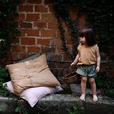 Pantaloni scurti Poudre Organic din muselina - Oil Green