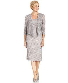 Alex Evenings Petite Dress and Jacket, Sleevess Sequin Lace - Petite Dresses - Women - Macy's