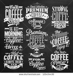 stock vector : Set Of Vintage Retro Coffee Labels On Chalkboard . Coffee decoration collection | Set of calligraphic and typographic elements styled design, frames, vintage labels. Vector.