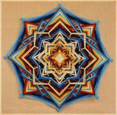 Lucky Star yarn mandala  Ojo de Dios 20 inches 51 by JivaMandalas