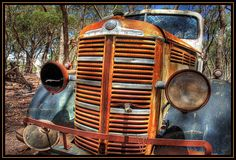 Grille on the Hill    An old deteriorating Bedford truck on the outskirts of Castlemaine, Victoria
