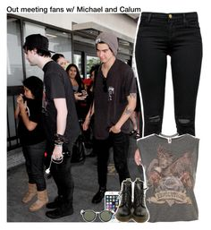 """""""Out meeting fans w/ Michael and Calum"""" by aileen2704 ❤ liked on Polyvore featuring J Brand, Dr. Martens, Wet Seal, Ray-Ban, 5sos, calumhood, michaelclifford, 5secondsofsummer and 5sosoutfits"""