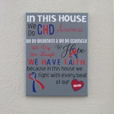 This item is unavailable Heart Awareness Month, Chd Awareness, Heart Month, Congenital Heart Defect, In This House We, Lettering Design, Wall Canvas, Heart Disease, Stretched Canvas