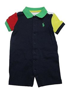 Ralph Lauren Baby Boys Colorblock Bodysuit Shortalls 1 Piece 6 Months French Navy >>> Visit the image link more details. Note:It is affiliate link to Amazon.