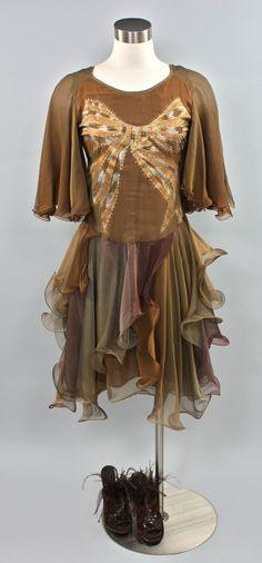 Vintage ZANDRA RHODES Dress Layered Silk Chiffon by StatedStyle, $775.00