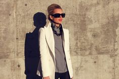 Blouse: Club Monaco. Blazer: Zara. Jeans: BDG. Shoes: Loeffler Randall. Bag: YSL Muse. Sunglasses: Chloe. Jewelry: Pomellato, David Yurman, Michele, Kenneth J Lay Couture. Lips: YSL. Nails: Milani Juicy Glo.