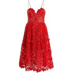 Self-portrait Azaelea sleeveless 3-D lace midi dress (2799725 PYG) ❤ liked on Polyvore featuring dresses, red, v neck cocktail dress, red sleeveless dress, lace dress, red v neck dress and v-neck dresses