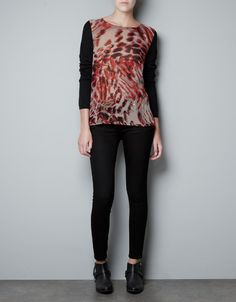 PRINTED CHIFFON TOP with knit sleeves