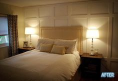 Master bedroom with wall moulding (board and batten style). Like the B&B going much higher over the bed like this then what is shown in other pinned photos.