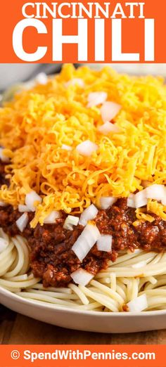 Cincinnati Chili is an easy recipe made with a surprising combination of spice slike cocoa powder cinnamon and allspice. Served in true Cincinnati style is scooped over spaghetti and topped with your choice of onions beans or cheese! Chili Spaghetti, Spaghetti Recipes, Pasta Recipes, Soup Recipes, Dinner Recipes, Cooking Recipes, Chili Pasta, Thm Recipes, Restaurant Recipes