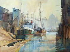 Ian Ramsay Watercolors: Painting is a different experience every day. One's mood is very often the most critical factor in determining what . Watercolor Artists, Watercolor Landscape, Watercolor Paintings, Watercolours, Boat Painting, Nautical Art, Traditional Paintings, Ship Art, Conceptual Art