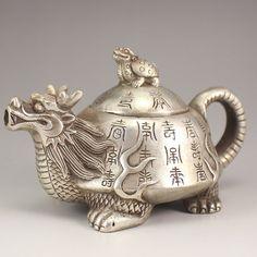 Chinese White Copper Dragon Turtle Teapot