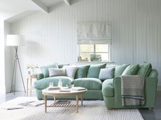 Invite the family to ease in and zone out on our Smooch. This large squishy scatter cushion back corner sofa should be big enough for the whole bunch! Green Corner Sofas, Green Sofa, Chaise Sofa, Sectional Sofa, Loaf Sofa, L Shaped Couch, Decorating On A Budget, Living Room Designs, Furniture