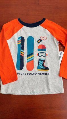 Toddler Boy long sleeve, Old Navy, orange/gray/blue, snow board, 5T #OldNavy #Everyday