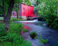 pictures of old mills in mo | The Old Red Mill at Alley Spring State Park in Missouri