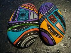 124, Les inséparables galets peints à l'acrylique aux couleurs vives et…