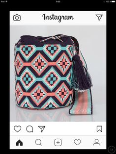 """New Cheap Bags. The location where building and construction meets style, beaded crochet is the act of using beads to decorate crocheted products. """"Crochet"""" is derived fro Tapestry Crochet Patterns, Crochet Stitches Patterns, Crochet Designs, Crotchet Bags, Mochila Crochet, Tapestry Bag, Flower Embroidery Designs, How To Make Handbags, Beaded Bags"""