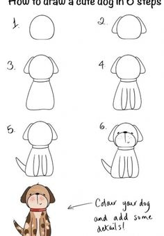 dog step by step drawing #drawings #easydrawings Easy Doodles Drawings, Easy Doodle Art, Easy Drawings For Kids, Simple Doodles, Art Drawings Sketches, Animal Drawings, Cute Drawings, Art For Kids, Cute Dog Drawing