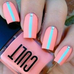 Gorgeous Pink nails with a light blue stripe