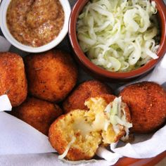 Squash arancini with apple-fennel slaw and stone ground mustard. Stuff them with brie for an added treat!