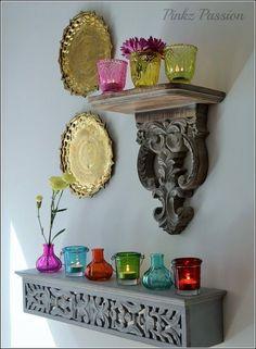 color bottles décor, Color Inspiration, colorful décor, eclectic decor, Global… #IndianHomeDecor Indian Home Decor, Indian Inspired Decor, Indian Room, Entryway Decor, Entrance Decor, Entryway Ideas, Foyer, Ethnic Decor, Traditional Decor