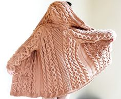 Knitting Patterns Women Hand Knit Women Chunky Cable Aran Irish Fisherman Sweater Coat Cardigan Top Whole Wool S M L XL Cable Knitting, Hand Knitting, Sweater Coats, Knit Cardigan, Hooded Cardigan, Sweater Jacket, Handgestrickte Pullover, Hand Knitted Sweaters, Oversized Sweaters