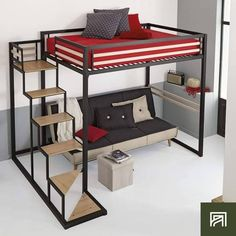 Deciding to Buy a Loft Space Bed (Bunk Beds). – Bunk Beds for Kids Cool Loft Beds, Bunk Beds With Stairs, Kids Bunk Beds, Bedroom Setup, Bedroom Loft, Bedroom Decor, Loft Bed Plans, Bunk Bed Designs, Kids Room Design