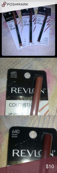Revlon Lip Liner Set 3 piece lip liner set all new in packaging. Colors are as follows: Natural,  Raisin, Plum-Prune. Revlon Makeup Lip Liner