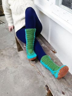 Crochet Slipper Boots with Leather Soles - MarketSpace