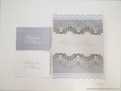 Lasercut Duchess Lace Wedding Invitation - http://www.classicweddinginvitations.com.au/duchess-lace-laser-cut-wedding-invitation/ - From $8.50
