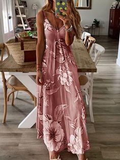 NEW Summer Womens Sleeveless V-neck Floral Print Sling Dress Big Swing Skirt Loose Casual Long Vest Dresses Ladies Party Dress Plus Size Maxi Dress With Sleeves, Floral Maxi Dress, V Neck Dress, Short Sleeve Dresses, Long Sleeve, Maxis, Casual Dresses, Summer Dresses, Maxi Dresses