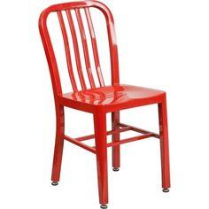 IHome Brimmes Red Metal Indoor/Outdoor/Patio/Bar Chair W/Vertical Slat