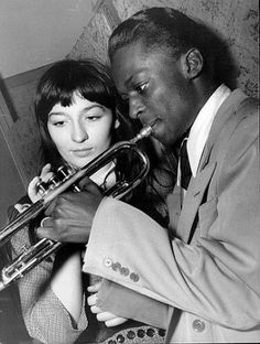 "blockmagazine: "" "" Juliette Gréco and Miles Davis playing the trumpet together at the jazz club Le Tabou, Paris (Jean-Philippe Charbonnier, ""So I met this man, who was very young, as I was. Miles Davis, Jazz Artists, Jazz Musicians, Music Artists, Music Icon, My Music, Music Stuff, Louis Armstrong, Juliette Greco"