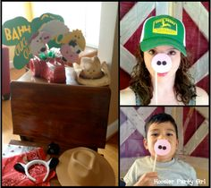 John Deere farm photo booth with barn door backdrop