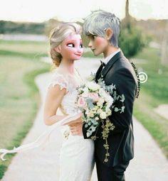 Image about pink in Jelsa💙❄💙💗 by Nicol Frost on We Heart It Jelsa, Jack Frost And Elsa, Modern Disney, Queen Elsa, Elsa Frozen, We Heart It, Singer, Couples, Wedding Dresses